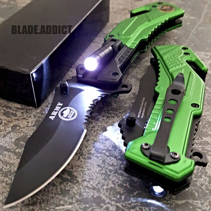 TAC-FORCE US ARMY Spring Assisted Opening LED Tactical Rescue Pocket Knife