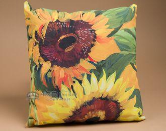 "Indoor Outdoor Climaweave Pillow 18"""" -Sunflowers"