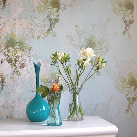 rose wallpaper from ferm living  $184/roll, 20.8 inches x 33 foot, 20.8 in pattern repeat