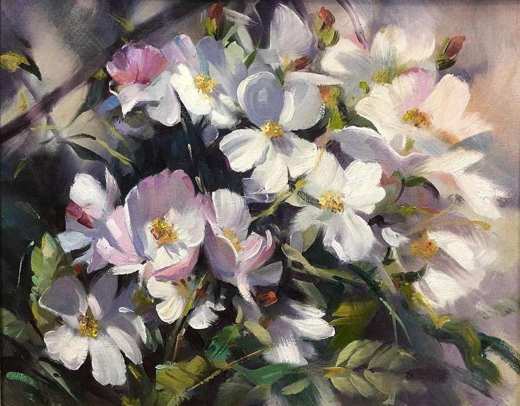 """Trevor Waugh  """"Dancing Petals"""" oil"""