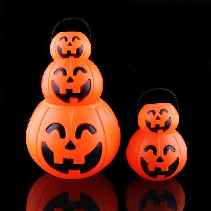 Promotion 5PCS  Vintage Pumpkin Jack O Lantern Light Goodie Bucke Halloween Bar Decoration Christmas Party Supplies Wholesale