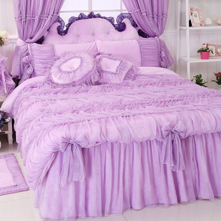 Princesa rendas conjuntos de cama rosa roxo, Menina gêmea rainha cheia rei fairyfair linda tecidos de cama colchas fronha capa de edredão(China (Mainland))
