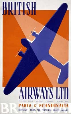 British Airways poster about travel to Paris and Scandinavia #travel #alookat #airlines