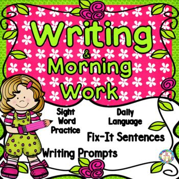 "Daily Oral Language, ""Fix-It"" Sentences, Writing and Language Skills, Sight Word Practice (High Frequency Words) are all part of these daily practice sheets! Common Core objectives are practiced along with TEKS (for our fellow Texans)!    Possible uses for this First Grade Daily Writing NO PREP, JUST PRINT resource:  Morning Work, Small Group Instruction, Intervention, Assessment, Homework or Center Work"