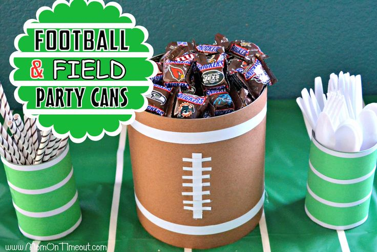 Festive and fun football decor made from cans! Easy to make party cans are perfect for cutlery and snacks.
