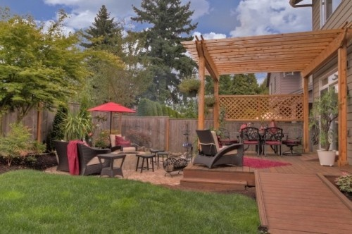 Deck patio combo fire pit water feature pergola for Fire pit water feature combo