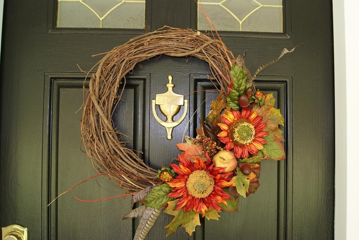 front door decorations for fall | Fall Autumn Holiday Sunflower Front Door Wreath Beautiful Autumn Decor