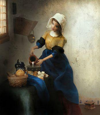 Barbie does Vermeer as the milk maid