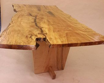 Live Edge Table. Wood Slab Table. Curly Spalted Maple