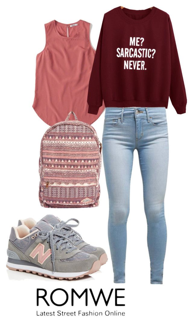 """Untitled #122"" by nellanm on Polyvore featuring Abercrombie & Fitch, Levi's, New Balance, Billabong and collegeoutfit"