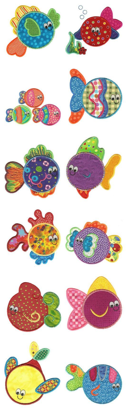 Embroidery | Free Machine Embroidery Designs | Fishies Applique Idea to use gelli papers!: