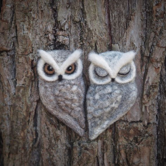 needle felted OWL BROOCH  grey brown felt owl  by TheLadyMoth