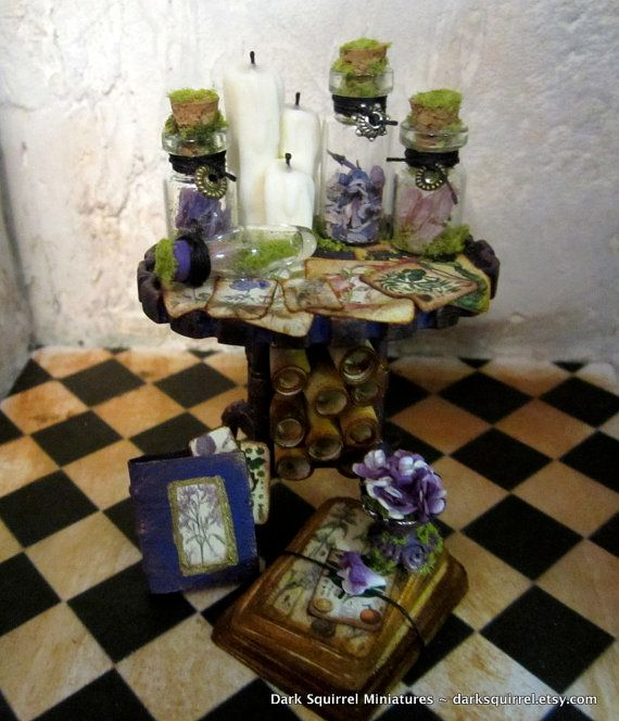Botanical Mini Table ooak dollhouse miniature in by DarkSquirrel