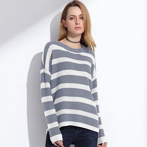 Long Knitted Sweater Pullover Women Spring Jumpers Striped Sweater Shirt Knitwear Pullover Female Tops #pulloverwomen