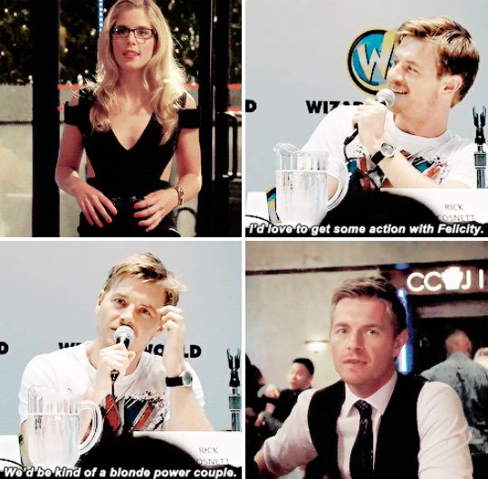 Rick Cosnett (aka Eddie Thorn, #TheFlash ) talk about Emily Bett (aka Felicity Smoak, #Arrow)