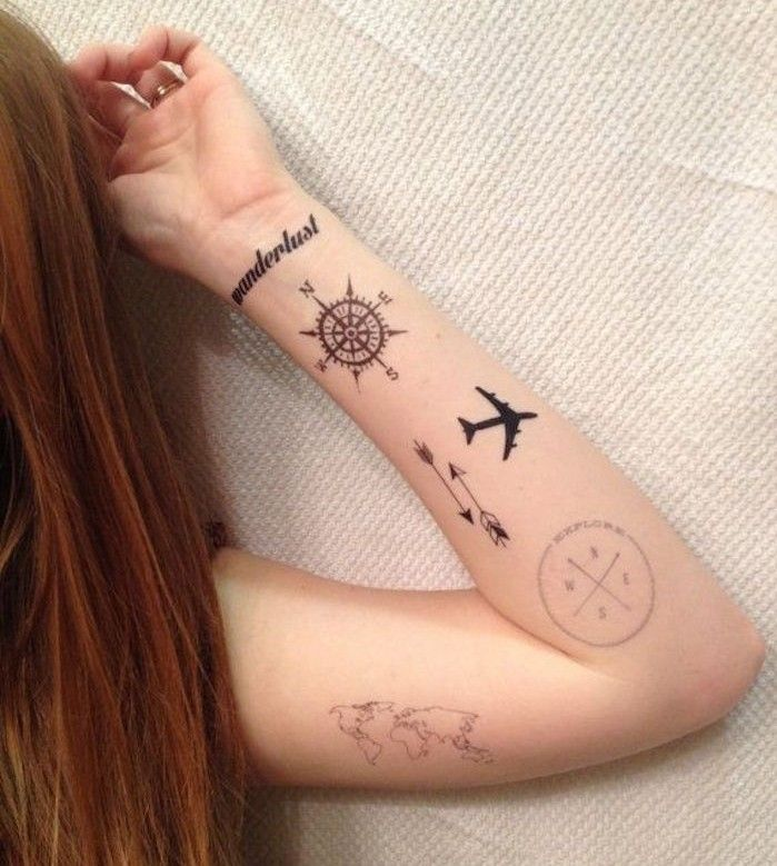 petits,tatouages,voyage,boussole,carte,du,monde,rose,