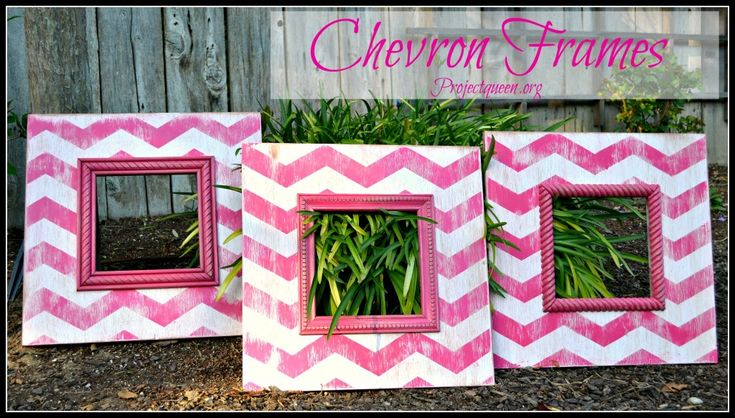 Chevron frames, these would be so cute in a little girls room!