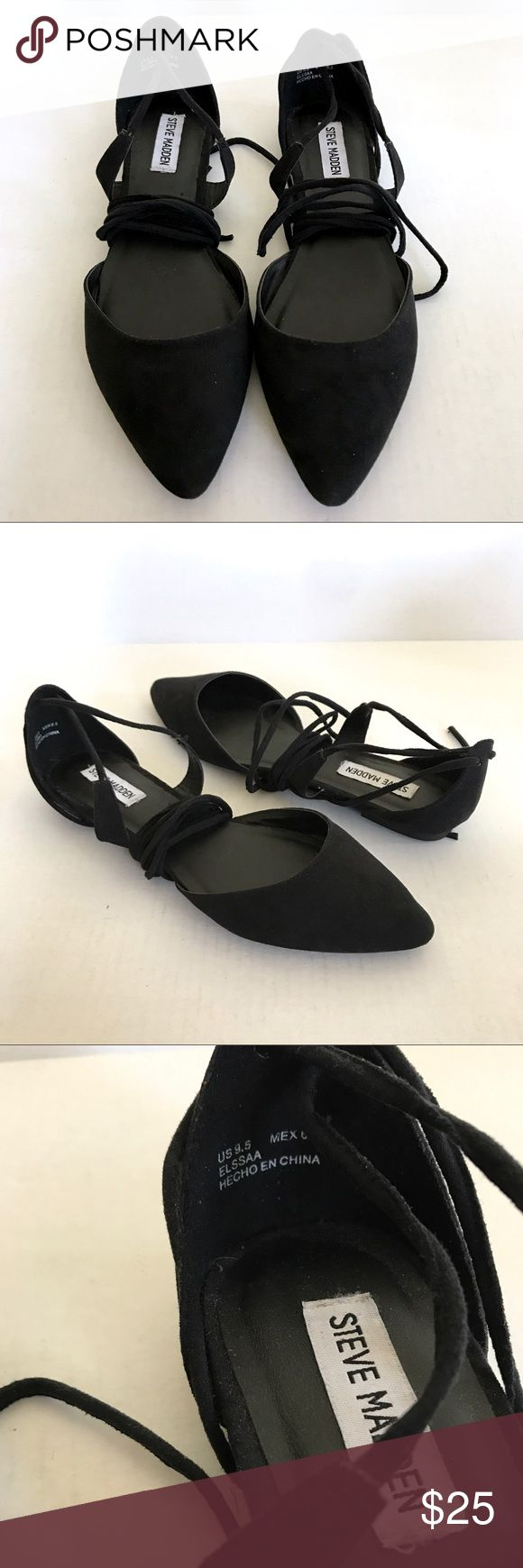 Steve Madden Lace Up Pointy Toe Black Flats NWOB New without box  Steve Madden Elssaa Lace Up / Wrap / Ankle Tie Pointy Toe Black Flats Size 9.5 Steve Madden Shoes Flats & Loafers