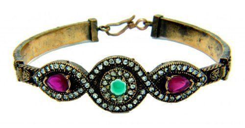 Antique Ottoman Style Vintage Emerald Gemstone with Ruby and cubic zirconia Bracelet 7.5'' Ottoman Bijouterie. $25.95. 7.5'' Bracelet. Ruby Red and Emerald Green. Perfect For Gift Giving. BRAND NEW