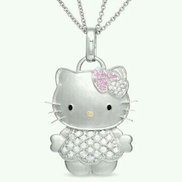 387 best my hello kitty collection images on pinterest hello hello kitty sterling silver pendant with pink white sapphires diamond necklace mozeypictures Gallery