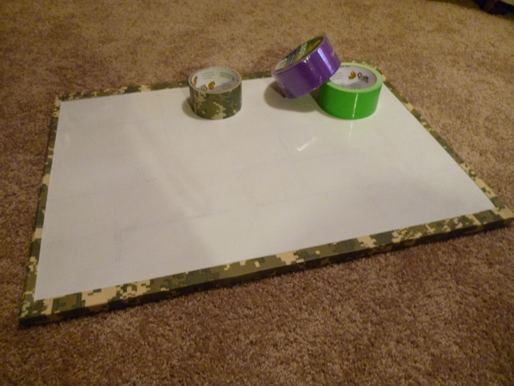Dry Erase Board - Duct Tape Boarder. Michael's has a variety of colored and patterned duct tape!! Change whenever : ) Takes 2 minutes!!