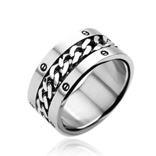 316L Stainless Steel w/Chain Center Bolted Design Wide Band Ring