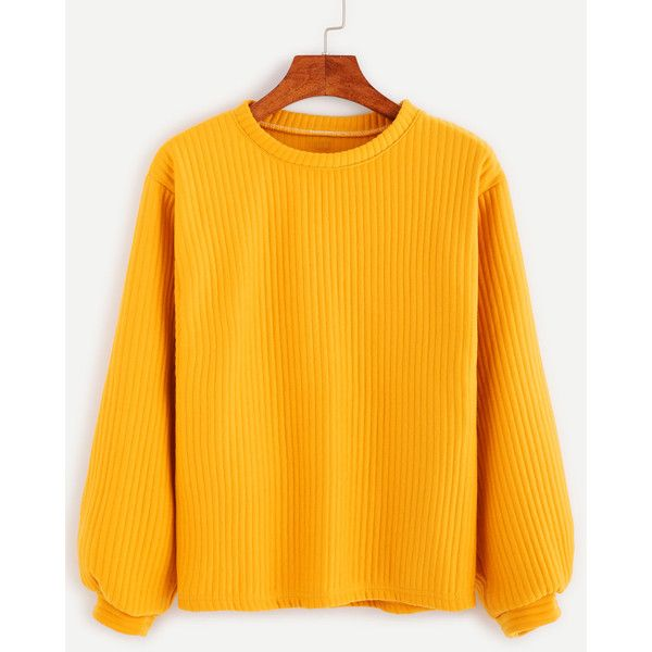 Yellow Long Sleeve Ribbed Sweatshirt (62430 PYG) ❤ liked on Polyvore featuring tops, hoodies, sweatshirts, yellow, stretchy tops, yellow top, long sleeve tops, orange top and yellow pullover