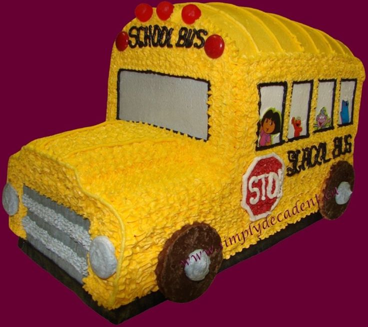 3D Cartoon School Bus  on Cake Central