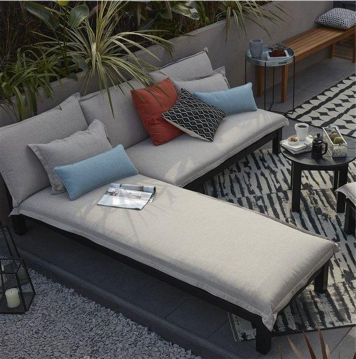 Canape De Jardin En Bois Blooma Pontine Noir Pas Cher Salon De Jardin Castorama In 2020 Garden Furniture Outdoor Sectional Sofa Furniture