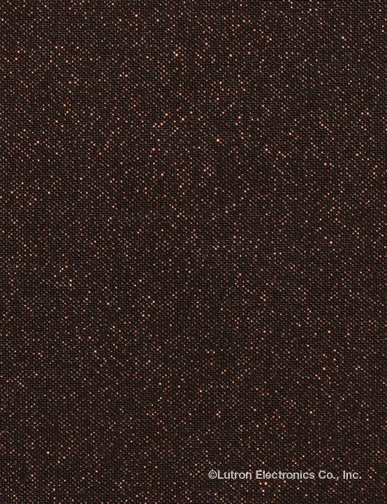 Lutron roller shade in sheer metallic Plains Copper Twilight. www.lutron.com/fabrics