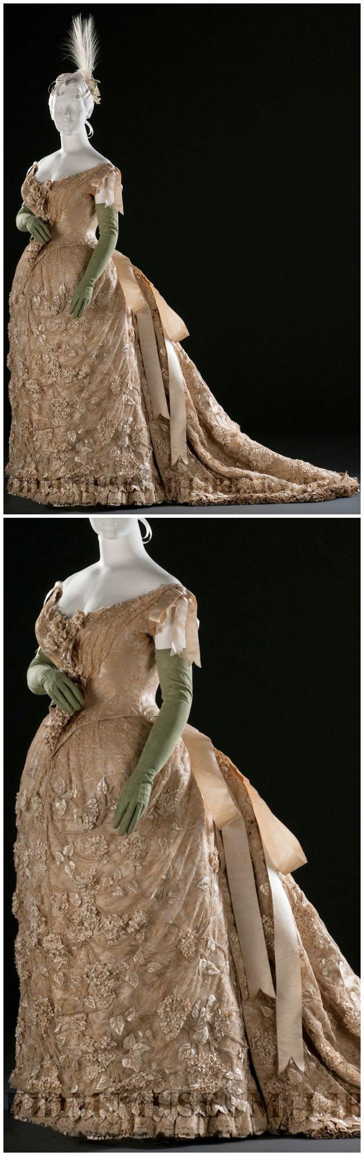 Opera Gown, by Maison Félix, Paris, c. 1887, Helen Larson Historic Fashion Collection, via the FIDM Museum Blog. Worn by Countess Craven as her wedding dress.