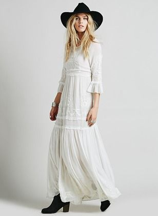 Cotton Solid 1013082/1013082 Sleeves Maxi Casual Dresses (1013082) @ floryday.com