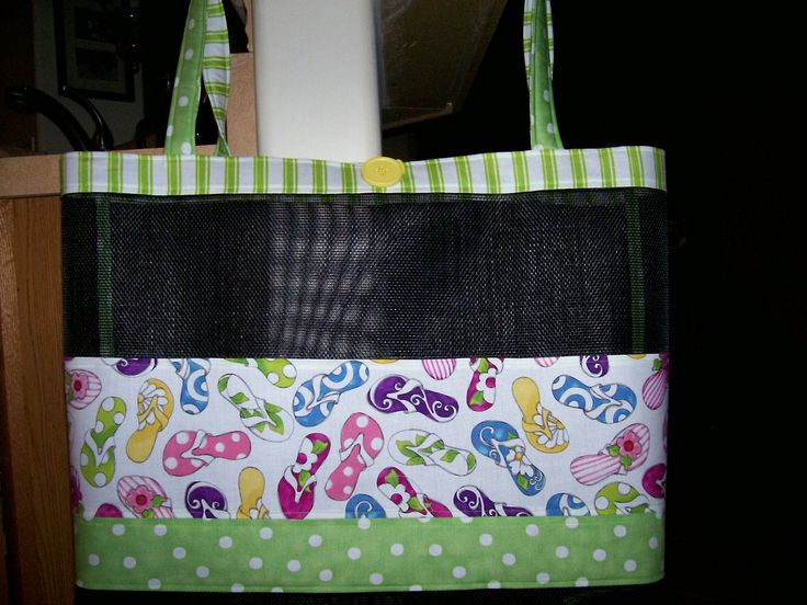 Beach Bag Made From Fabric And Vinyl Screen Approx 26