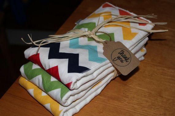 Cloth Diaper Burp Cloth - Riley Blake Chevron - Set of 3 via Etsy
