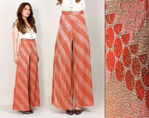 vintage 70s Metallic PALAZZO pants XS high by TinRoofVintage, $68.00