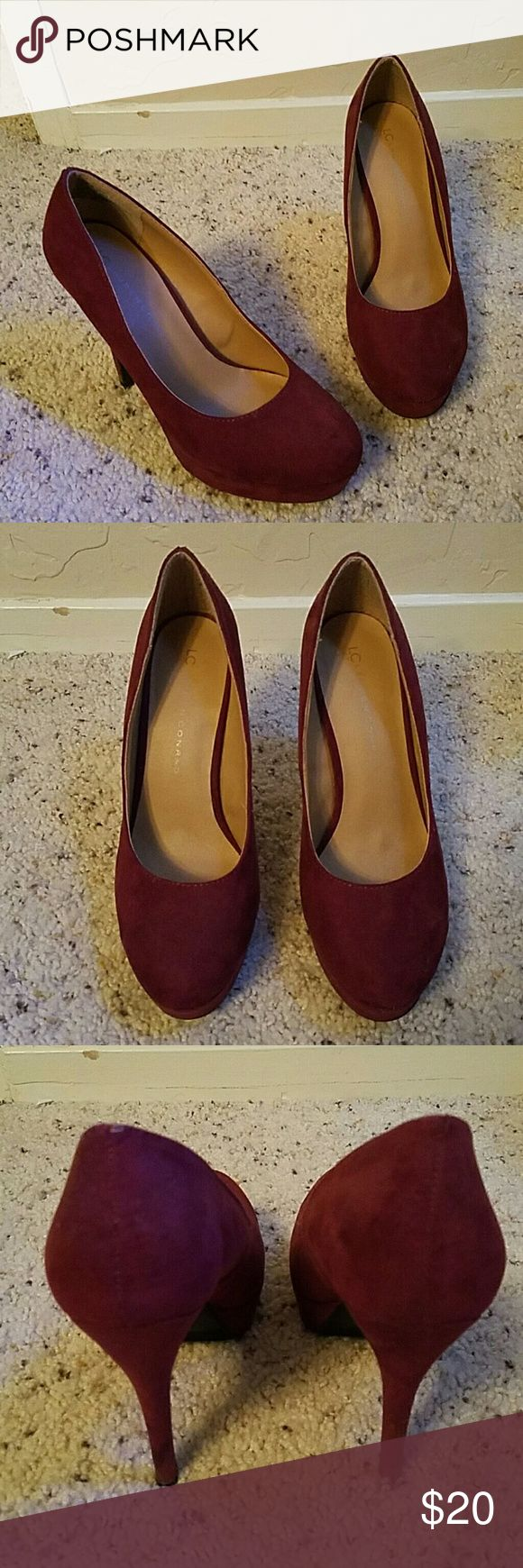 LC Lauren Conrad heels Maroon heel in good condition.  Fits a true size 8 foot LC Lauren Conrad Shoes Heels