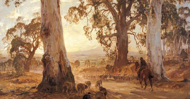 """Droving into the light"""", by Hans Heysen"""