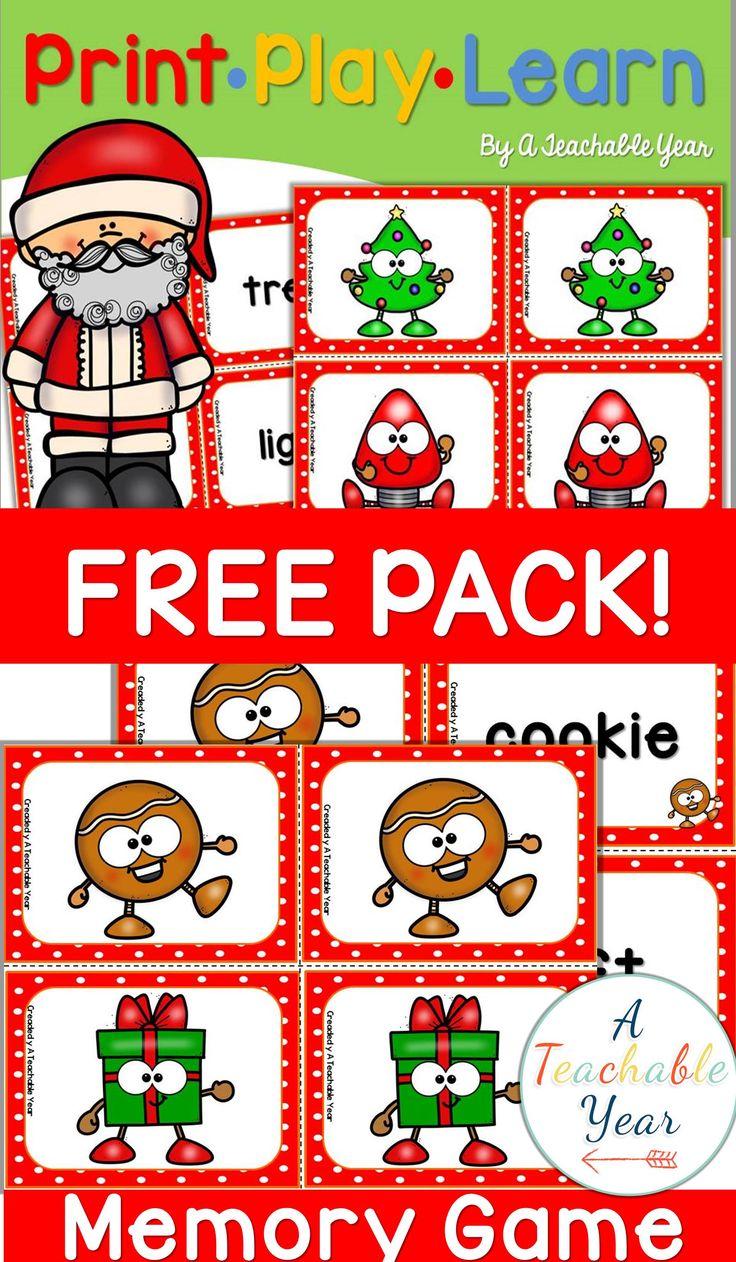 Memory Game Christmas {FREE} Educlips