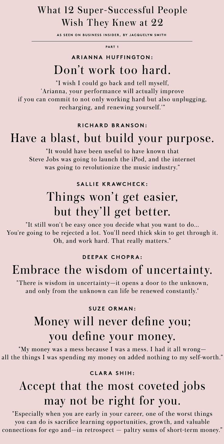 """Good advice from @LIFE by BI """"What 12 Super-Successful People Wish They Knew at 22"""""""