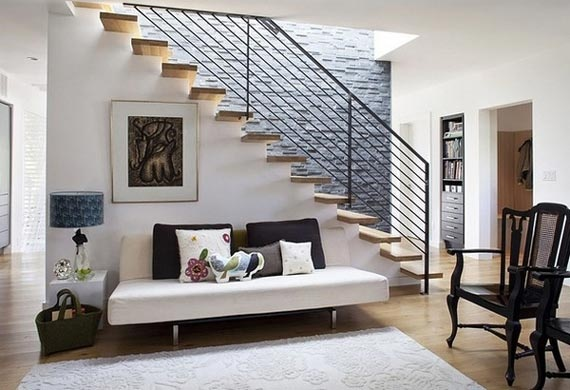 Could we modernize stairwell? Google Image Result for http://totalyhomedecor.com/wp-content/uploads/2011/05/Minimalist-Living-Room-with-Natural-Stone-Wall.jpg