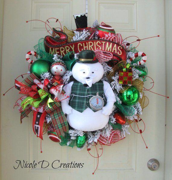 Christmas Wreath Holiday Wreath Deco Mesh Wreath Front Door Wreath Sam The Snowman Wreath Christmas Wreaths Holiday Wreaths Christmas Wreaths To Make
