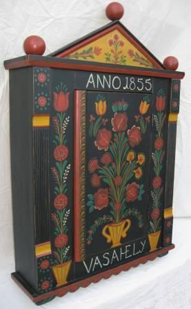 Painted Hungarian folk wall cupboard furniture