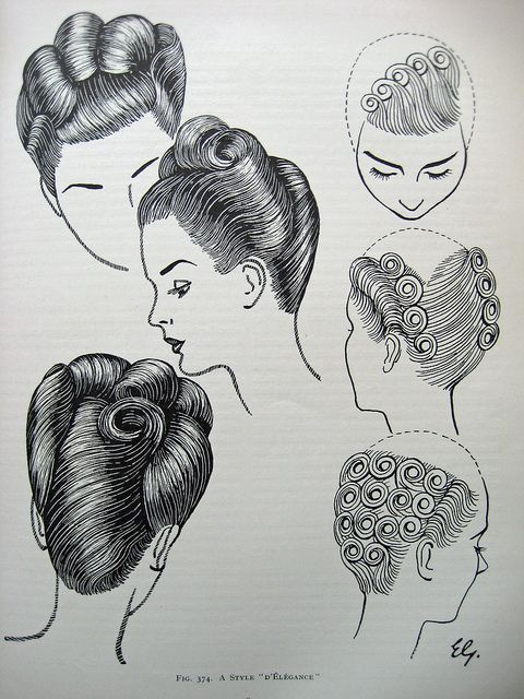"""Vintage Hair - The Art & Craft of Hairdressing 1950 'A Style d'Elegance"""" by Sew Something Vintage, via Flickr"""