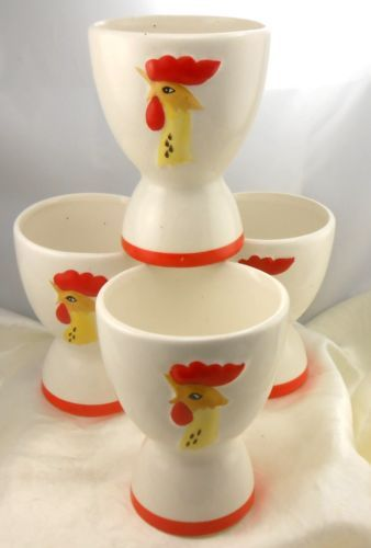 1961 Vintage Holt Howard Rooster Egg Cups