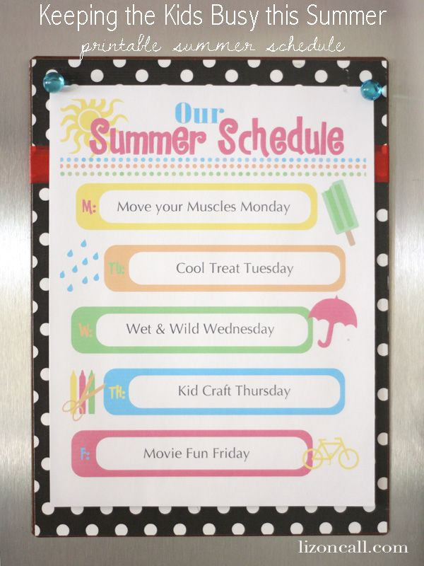 keep the kids busy this summer with this free printable summer schedule (great idea for not letting each day just fly by with no thought)