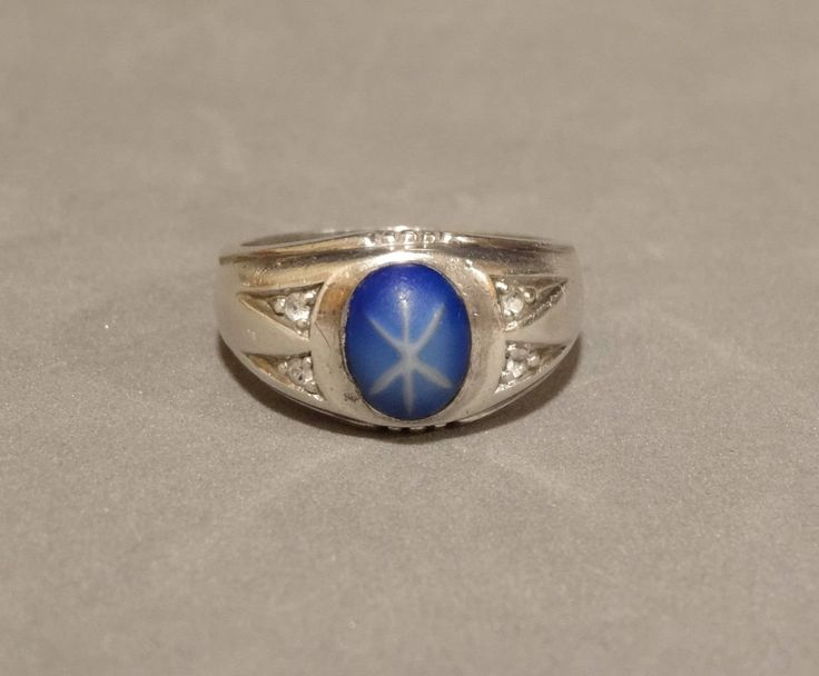 Vintage Faux Blue Star Sapphire Ring Sterling Silver Quartz Rock Crystal Size 11 Mens Mans Art Deco Jewelry Huge Big Large Heavy