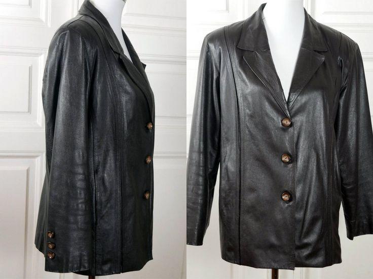 European Vintage Black Leather Jacket, 1970s Single-Breasted Lambskin Leather Coat, Women's Leather Blazer: Size 10 US, Size 14 UK by YouLookAmazing on Etsy