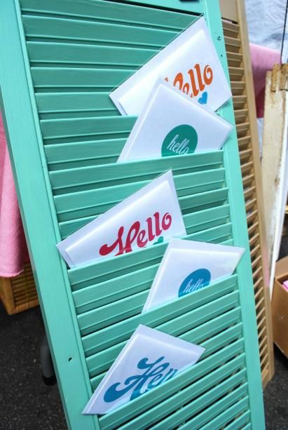 Craft Booth display - painted shutters & cards