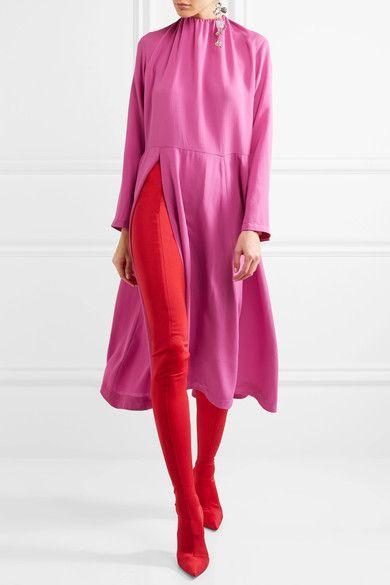 Balenciaga - Stretch-satin Skinny Pants - Red - Waist FR40 / Shoe IT40