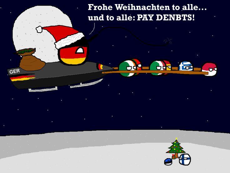 """Polandball Advent Calendar 2014 - Day 24 - Debt Sleigh"" ( Germaney, Ireland, Portugal, Italy, Spain, Greece, Poland ) by polandballmod #polandball #countryball #flagball"